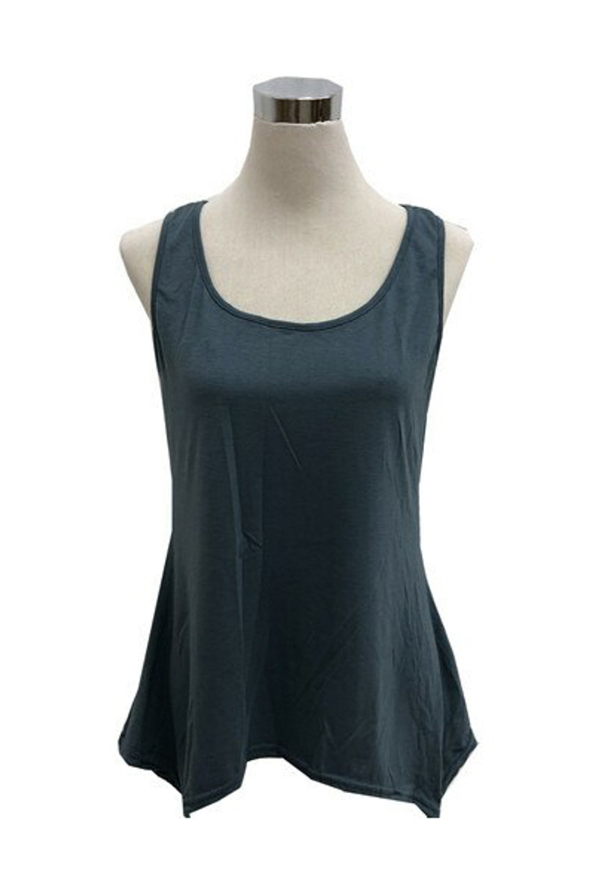 Navy Basic Solid Round Neck Relaxed Fit Tank Top