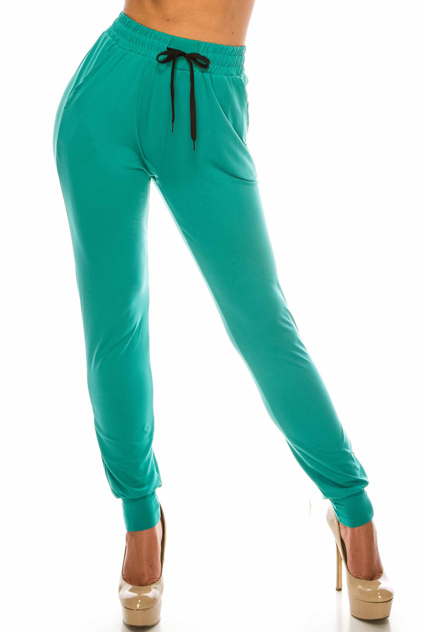 Front side image of Buttery Soft Solid Basic Jade Joggers - EEVEE with an elasticized drawstring waist.