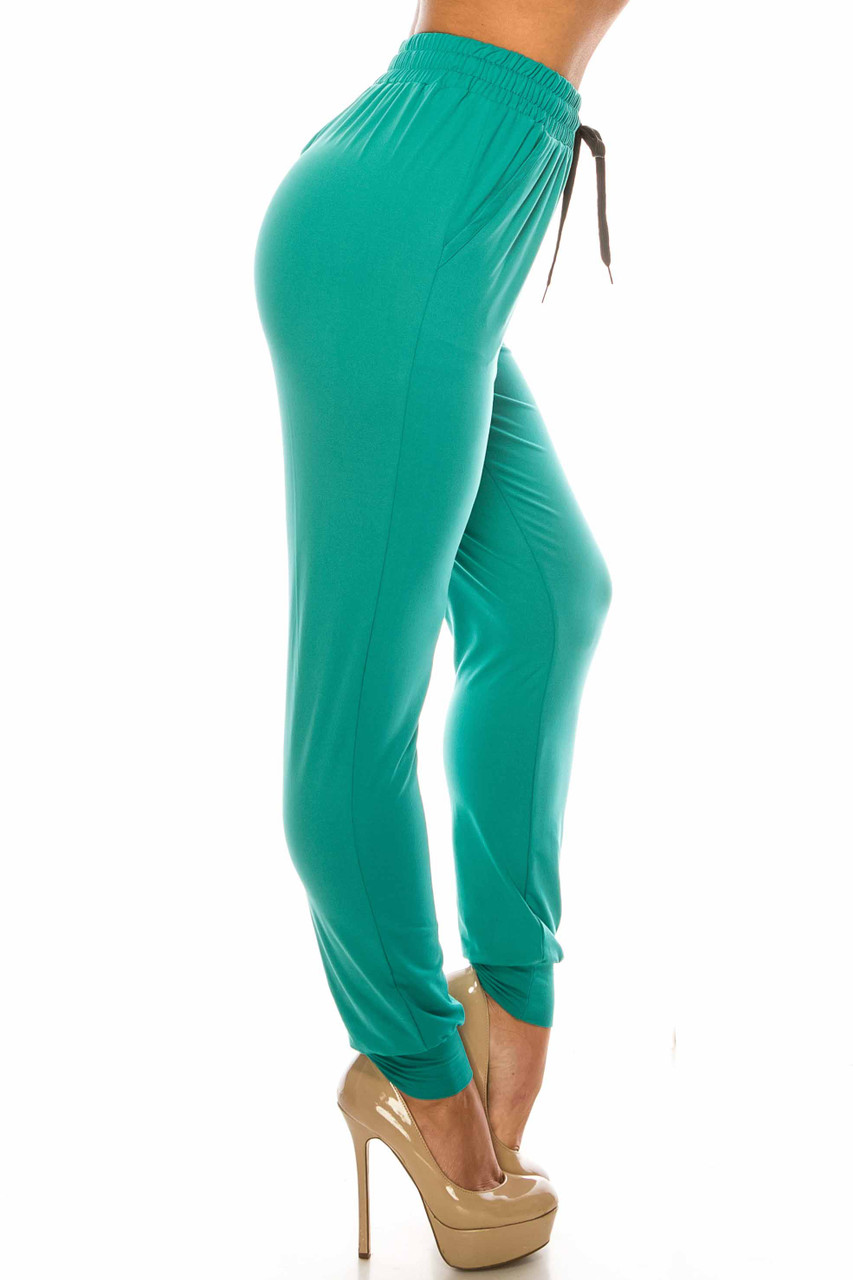 Right side image of Buttery Soft Solid Basic Jade Joggers - EEVEE