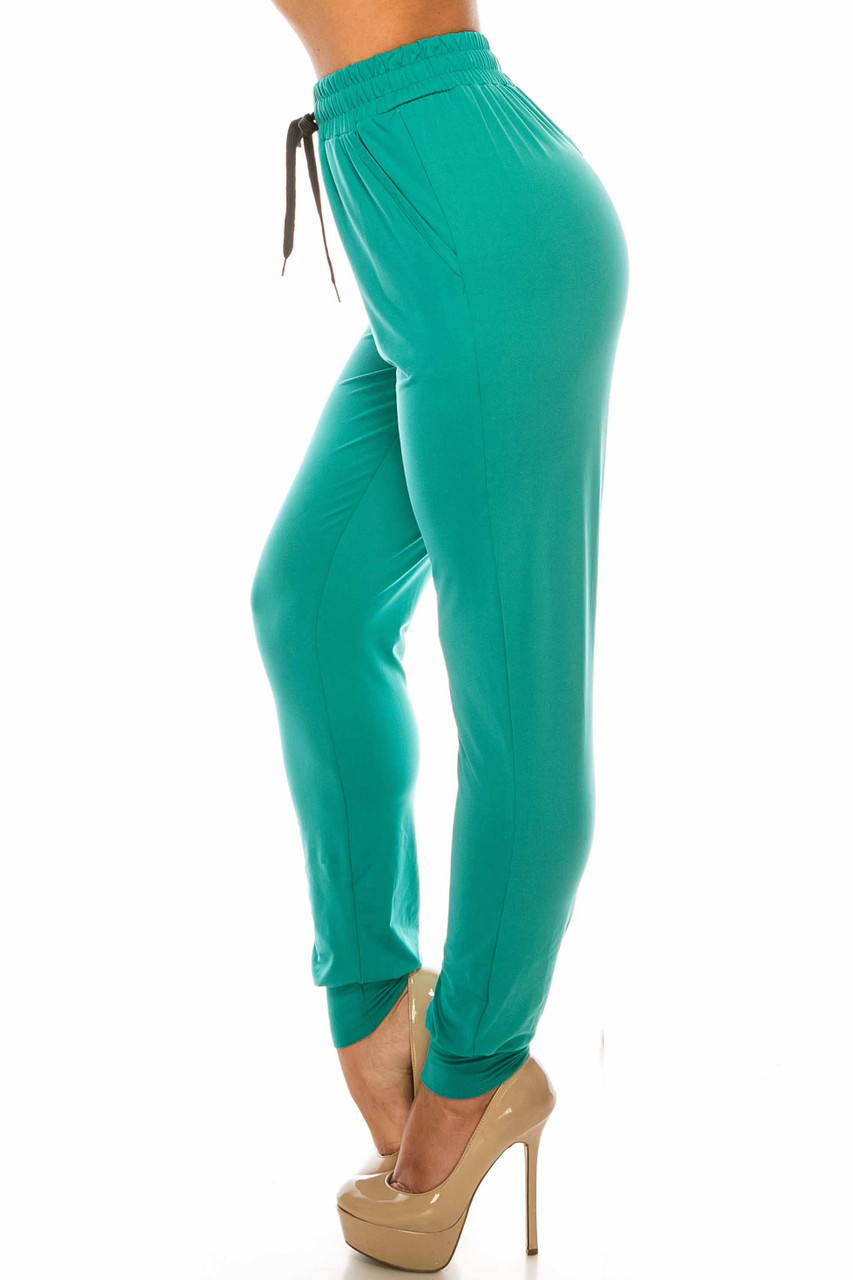 Left side image of Buttery Soft Solid Basic Jade Joggers - EEVEE