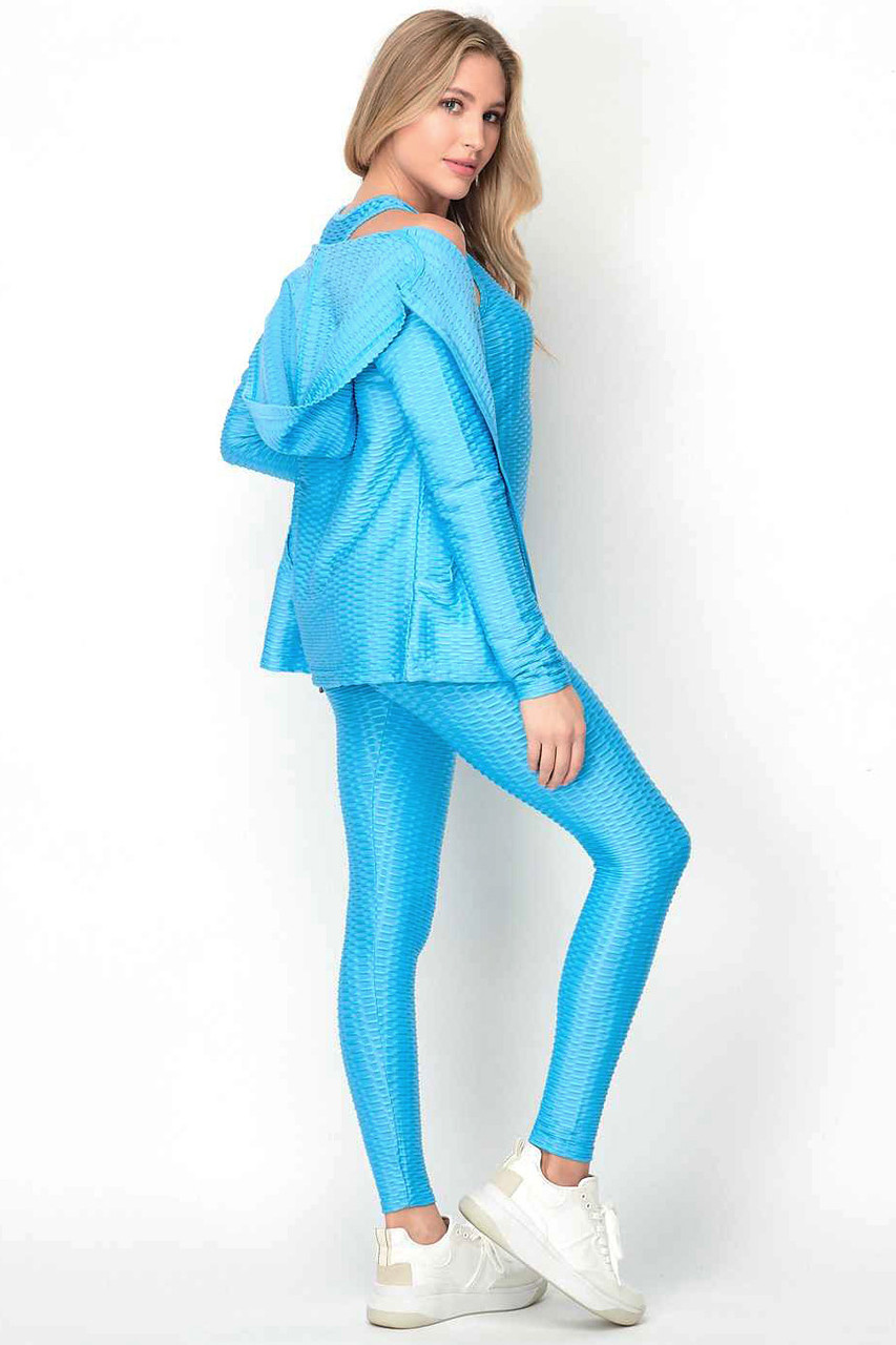 Right side of Light Blue Pastel 3 Piece Scrunch Butt Leggings Tank Top and Hooded Jacket Set