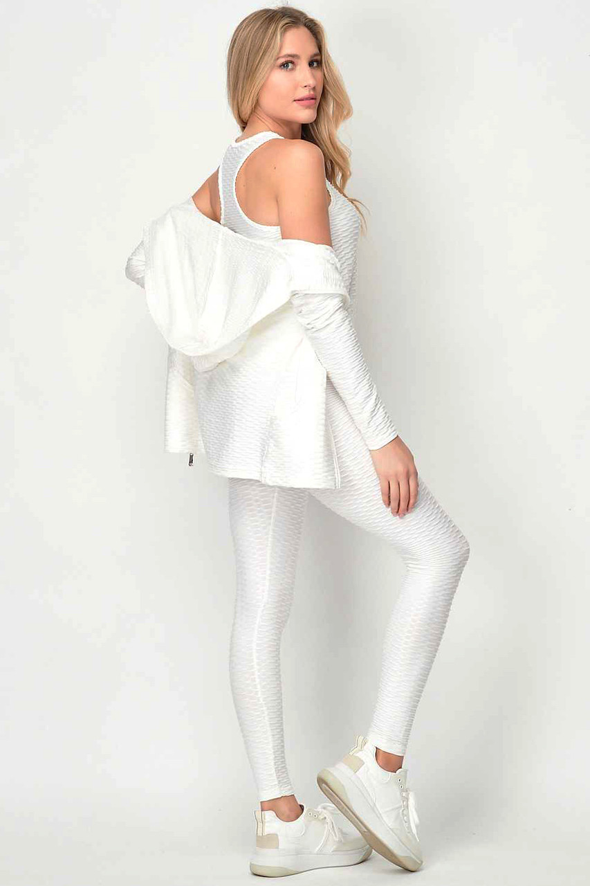 Right side of White Pastel 3 Piece Scrunch Butt Leggings Tank Top and Hooded Jacket Set