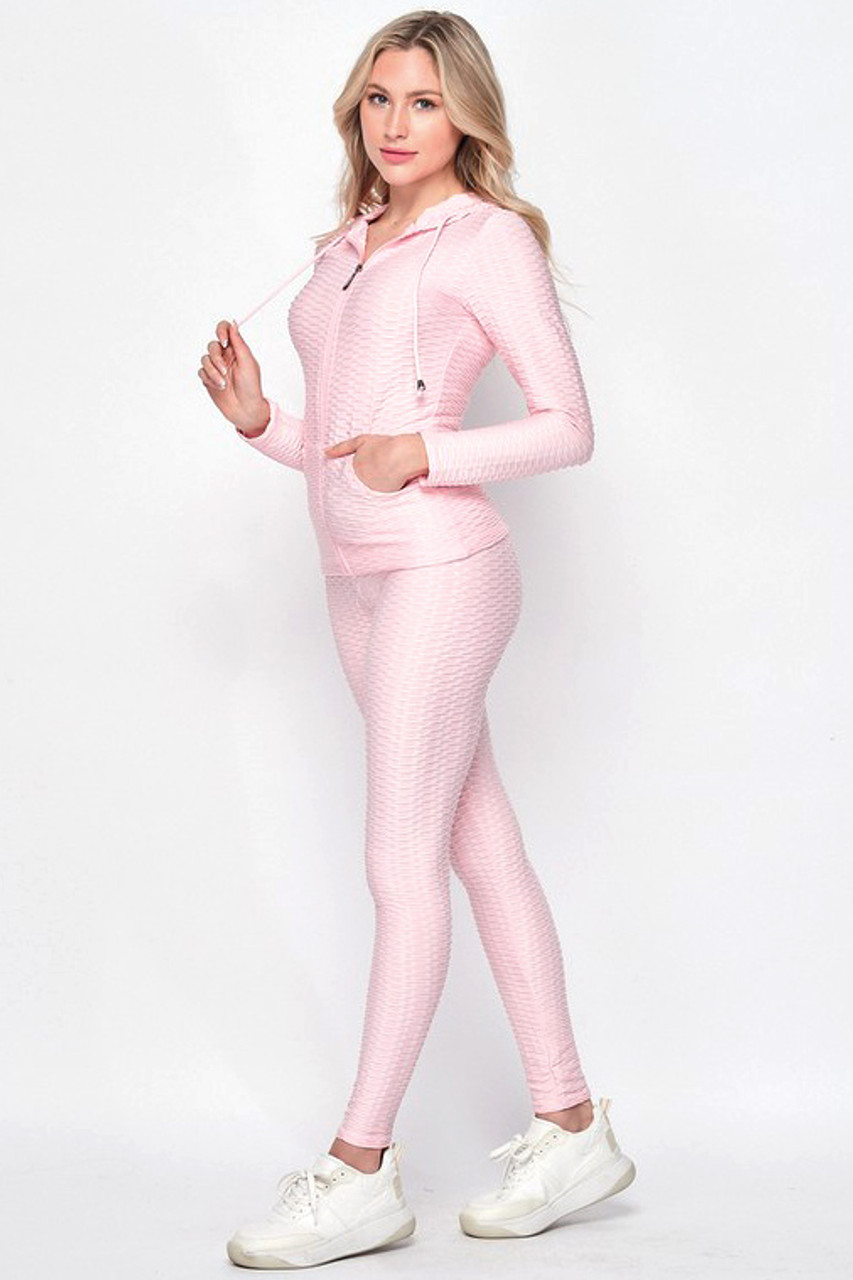 Left side of Pink Pastel 3 Piece Scrunch Butt Leggings Tank Top and Hooded Jacket Set