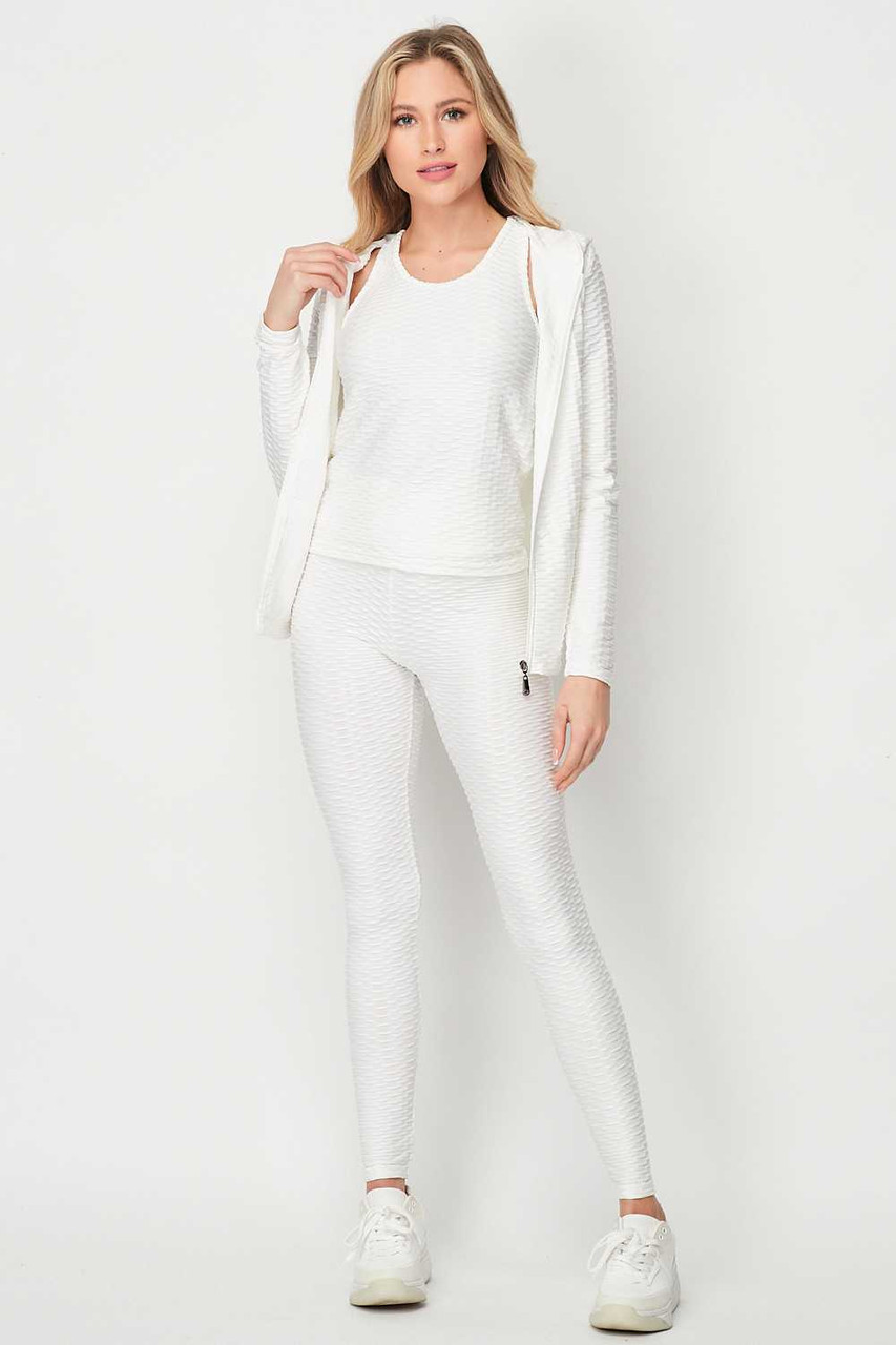 Front side image of White Pastel 3 Piece Scrunch Butt Leggings Tank Top and Hooded Jacket Set