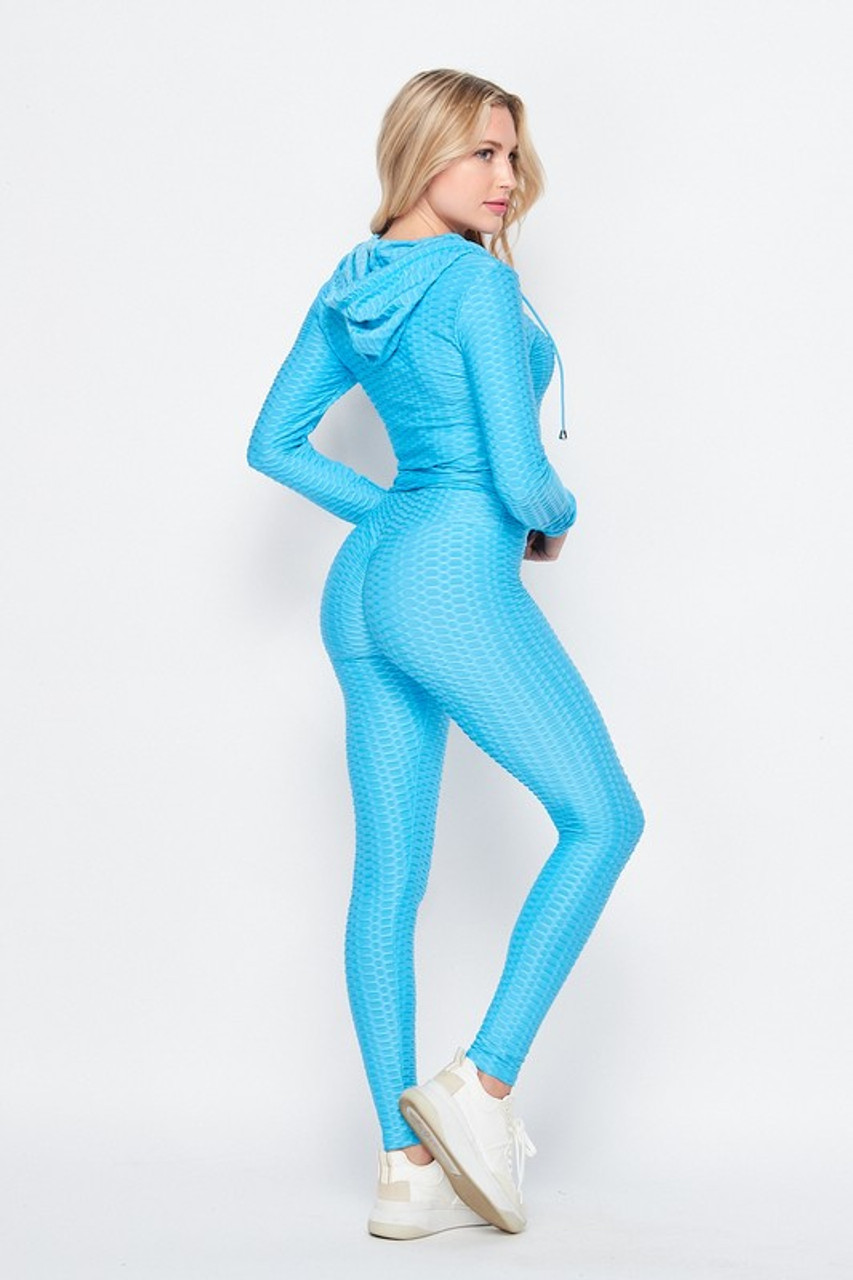 Back side image of Light Blue Pastel 3 Piece Scrunch Butt Leggings Tank Top and Hooded Jacket Set showing off the fabulous booty sculpting leggings