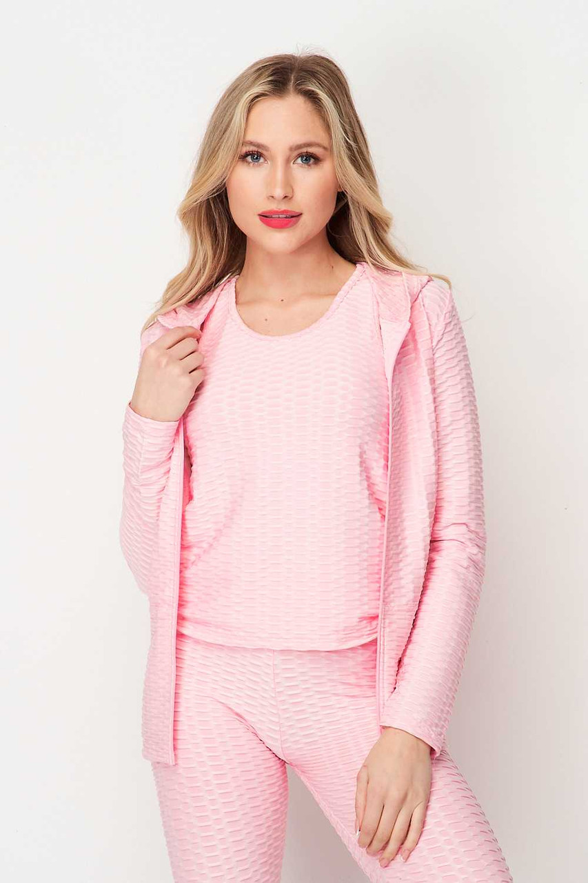 Front of PInk Pastel 3 Piece Scrunch Butt Leggings Tank Top and Hooded Jacket Set