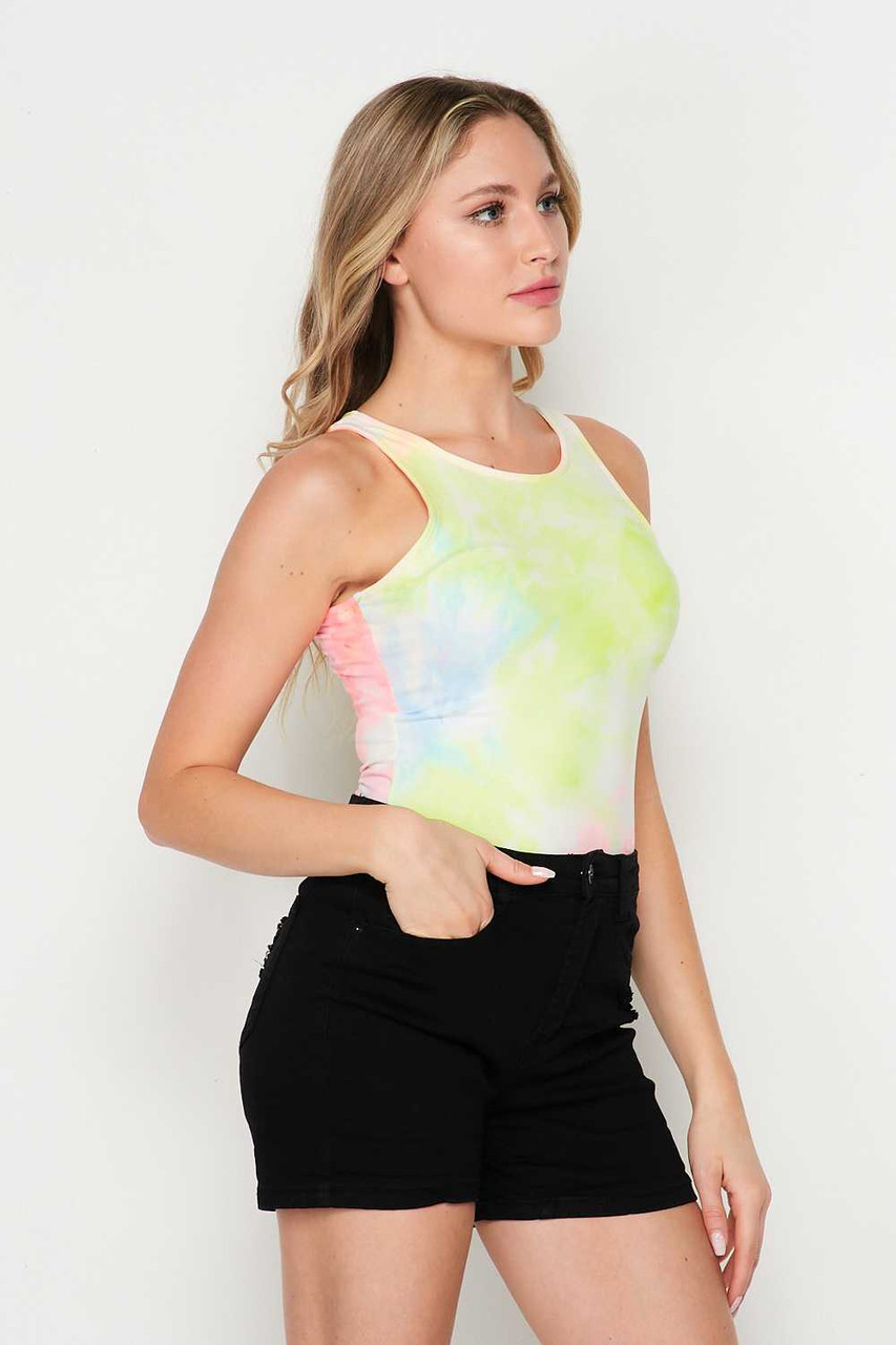 Right side of Buttery Soft Pink and Yellow Tie Dye Bodysuit