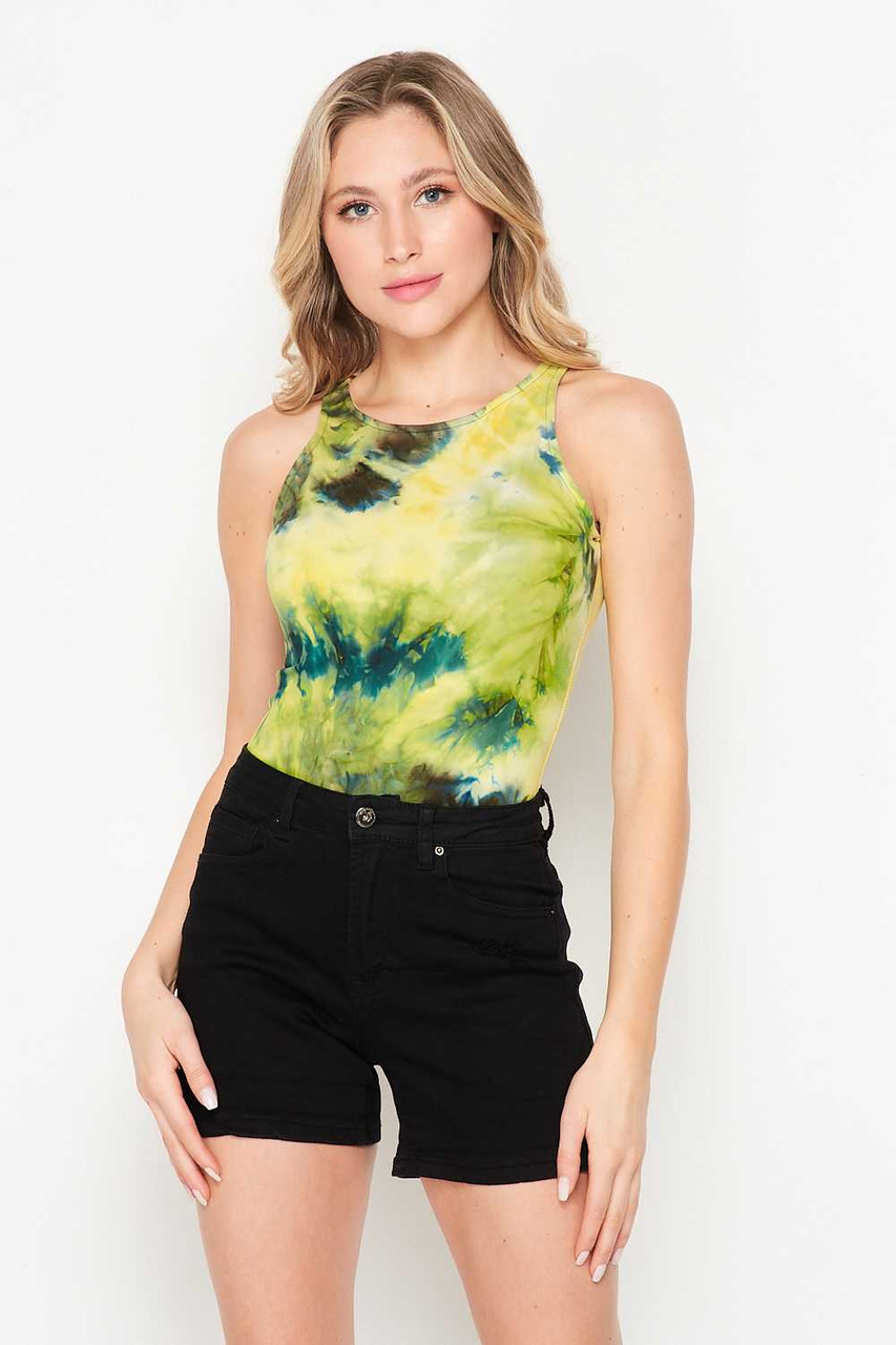 Front side image of Buttery Soft Yellow Tie Dye Bodysuit styled with black shorts