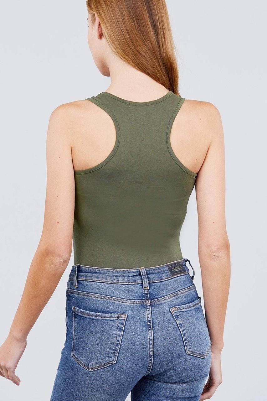 Back of Olive Basic Solid Scoop Neck Cotton Bodysuit