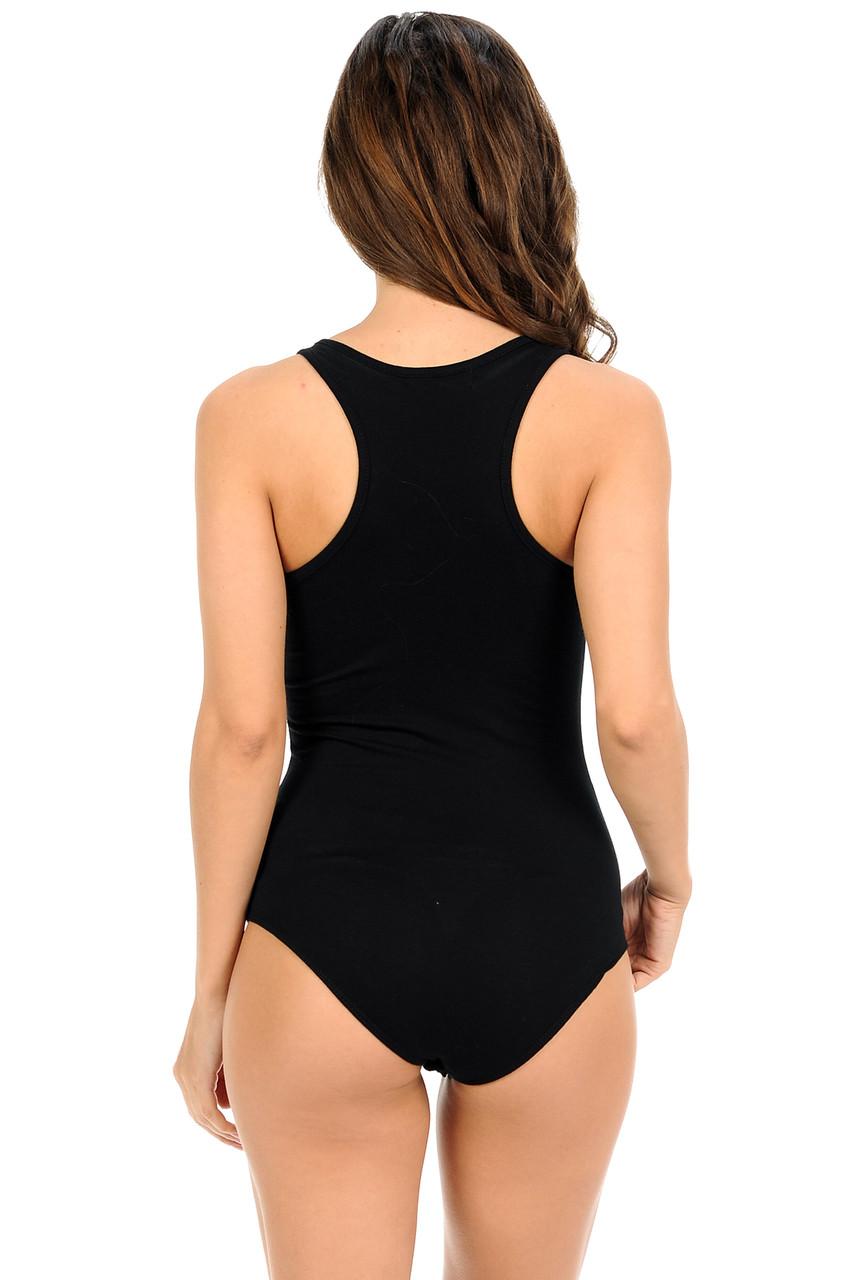 Black Basic Scoop Neck Cotton Bodysuit