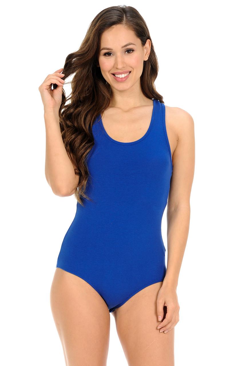Blue Basic Scoop Neck Cotton Bodysuit