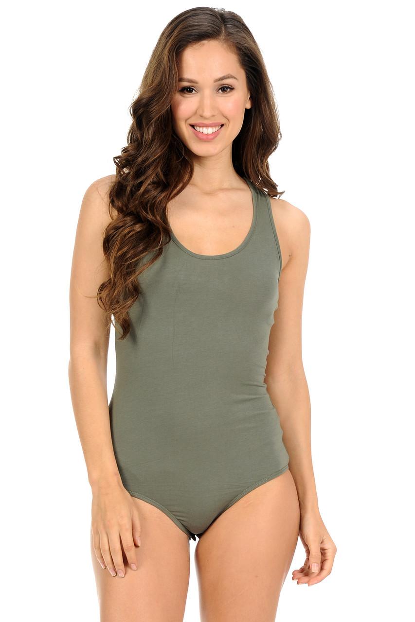 Olive Basic Scoop Neck Cotton Bodysuit