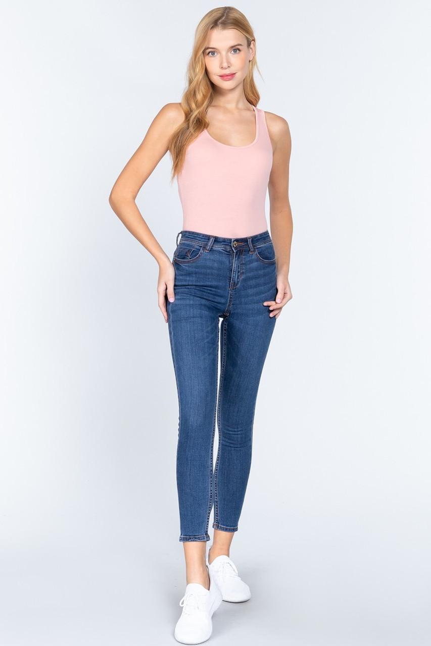 Pink Basic Solid Scoop Neck Cotton Bodysuit