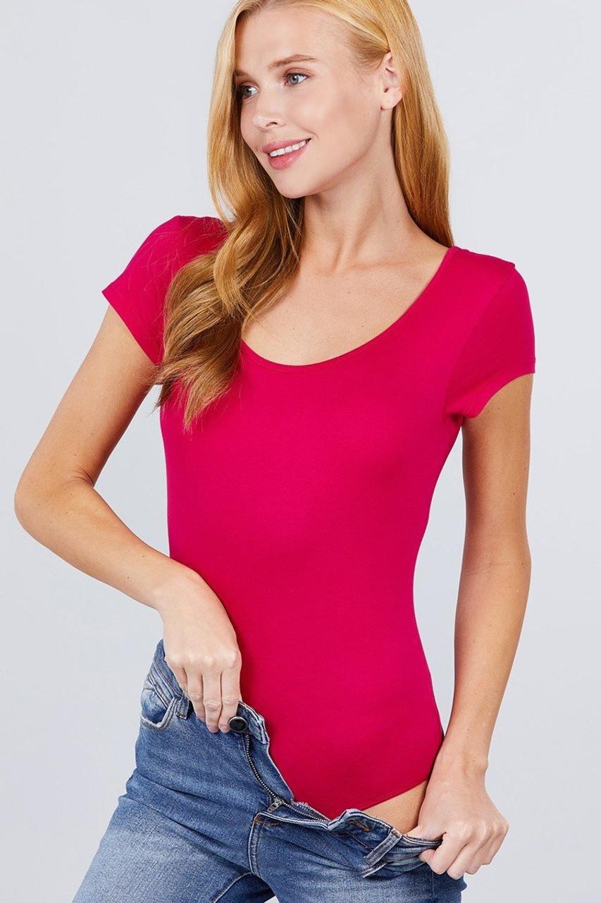 Hot Pink Basic Solid Short Sleeve Scoop Neck Cotton Bodysuit