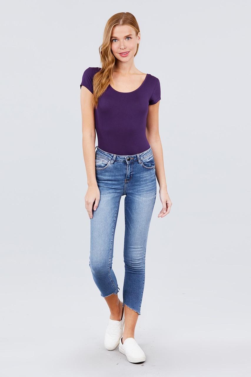 Purple Basic Solid Short Sleeve Scoop Neck Cotton Bodysuit