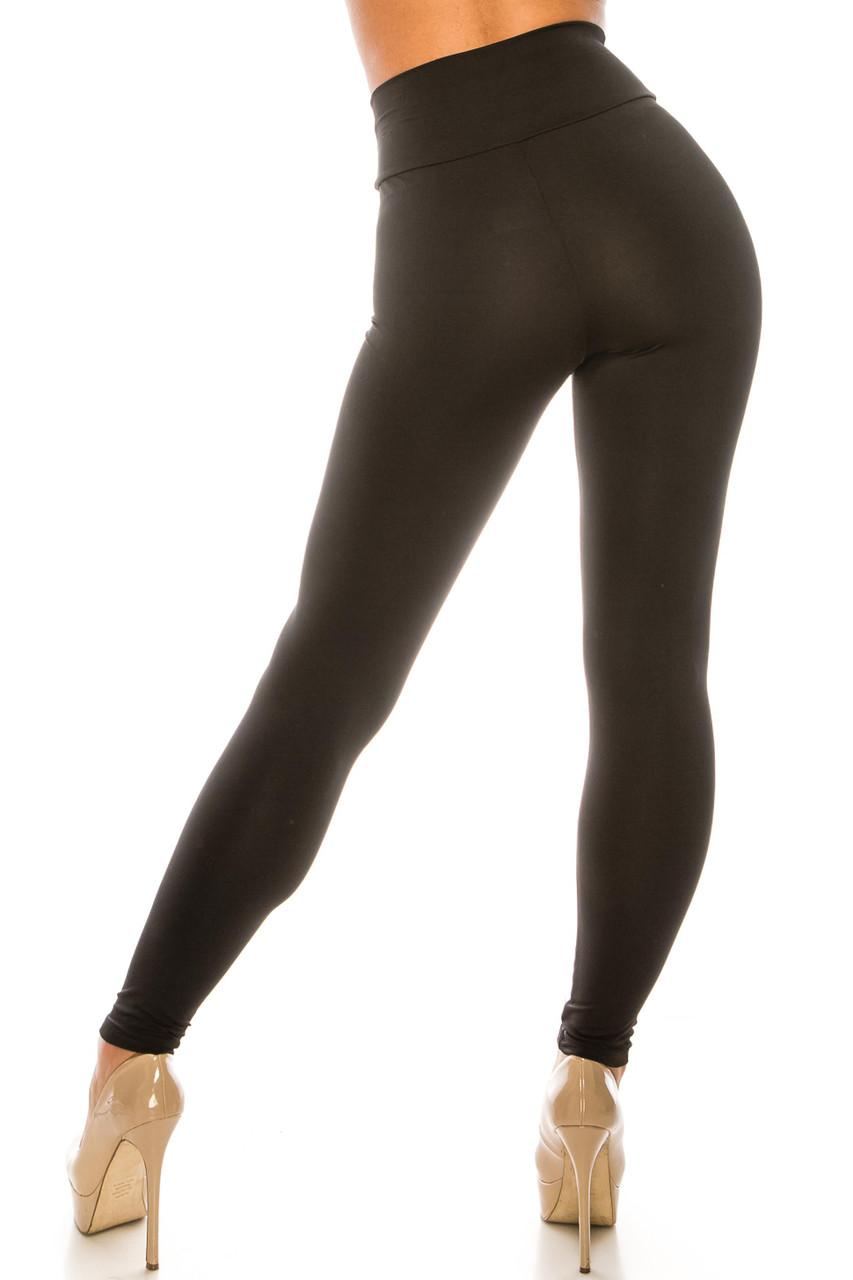 Back side image of Black USA Basic High Waisted Athleisure Leggings