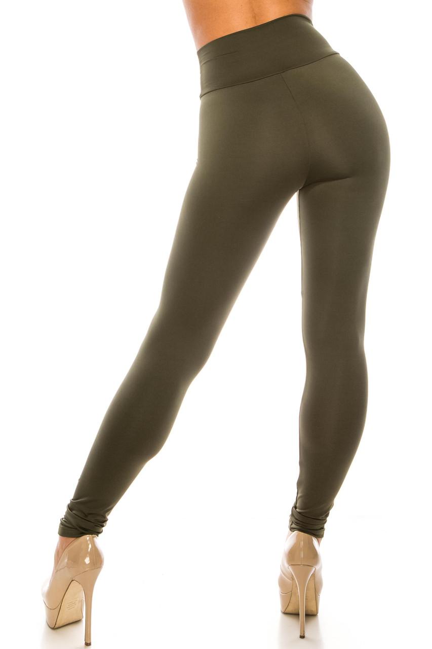 Back side image of Olive USA Basic High Waisted Athleisure Leggings