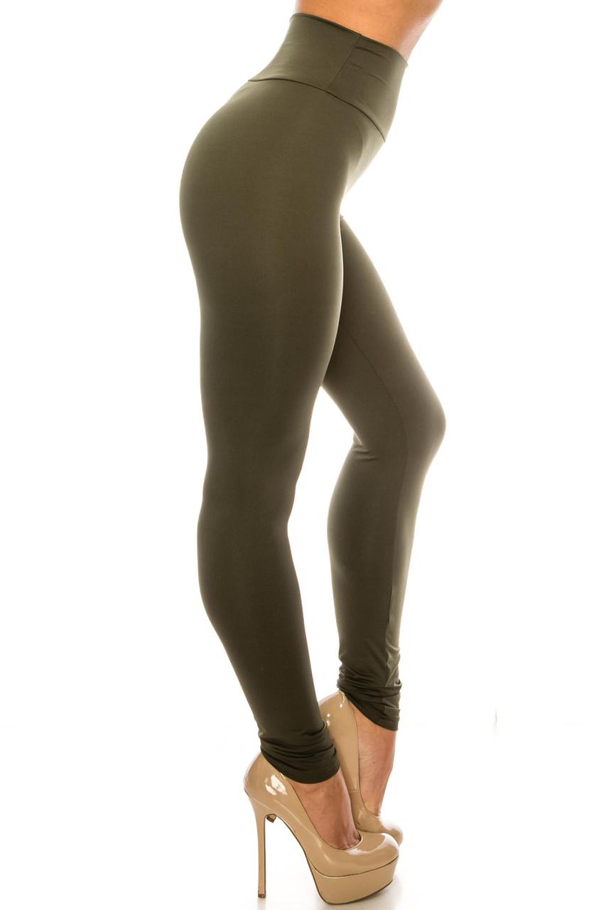 Right side image of Olive USA Basic High Waisted Athleisure Leggings