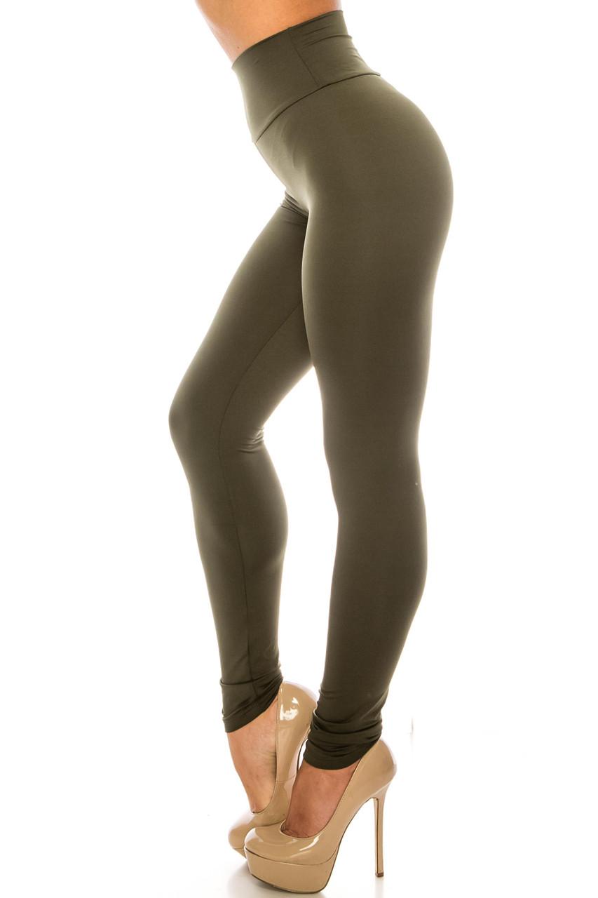 Left side image of Olive USA Basic High Waisted Athleisure Leggings