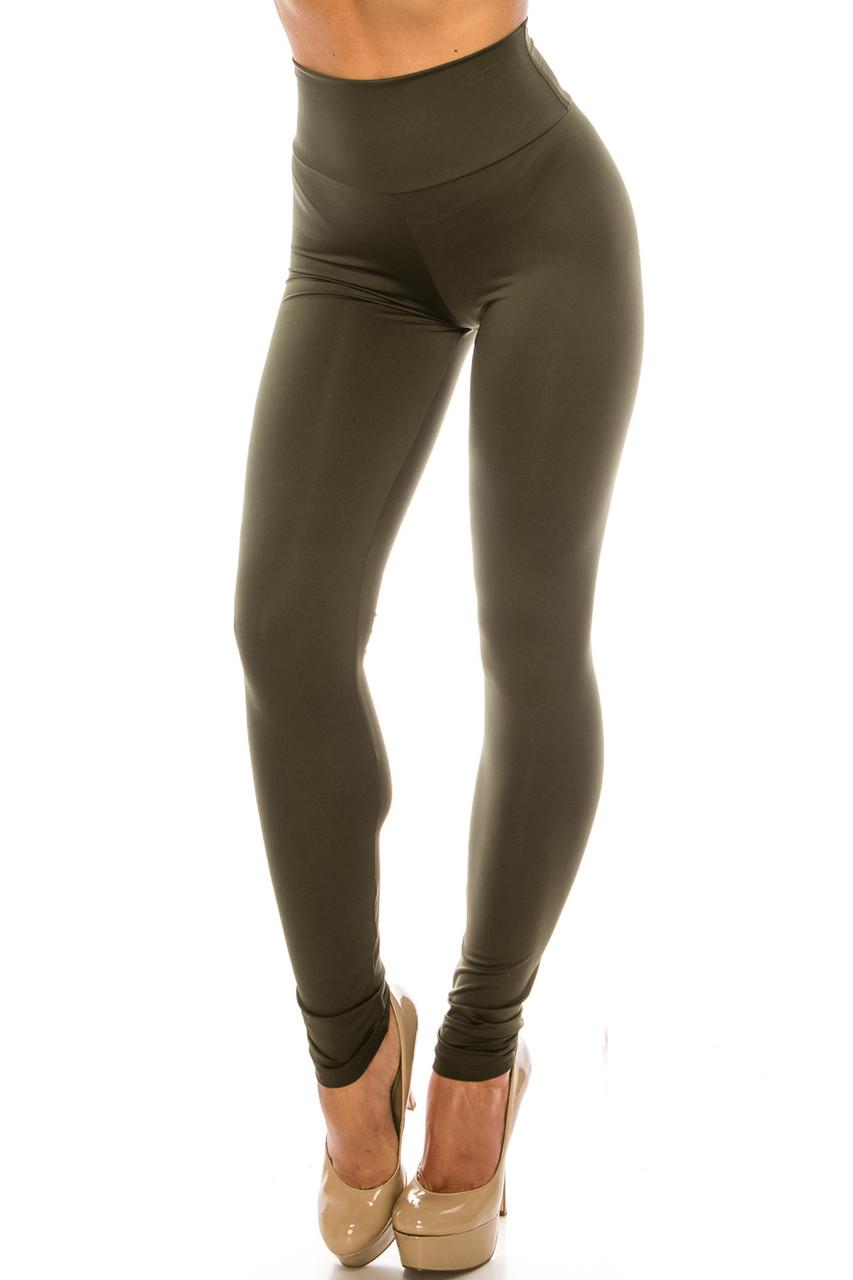 45 degree image of Olive USA Basic High Waisted Athleisure Leggings