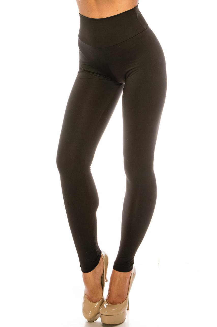 45 degree view of Black USA Basic High Waisted Athleisure Leggings