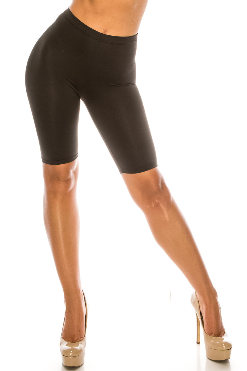Front of black USA Basic Athleisure Shorts showing a hem just above the knee.