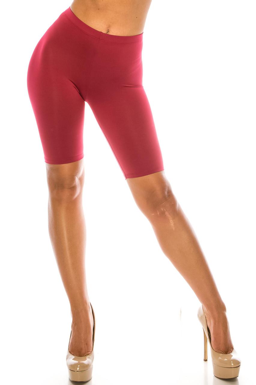 Front of Burgundy USA Basic Athleisure Shorts