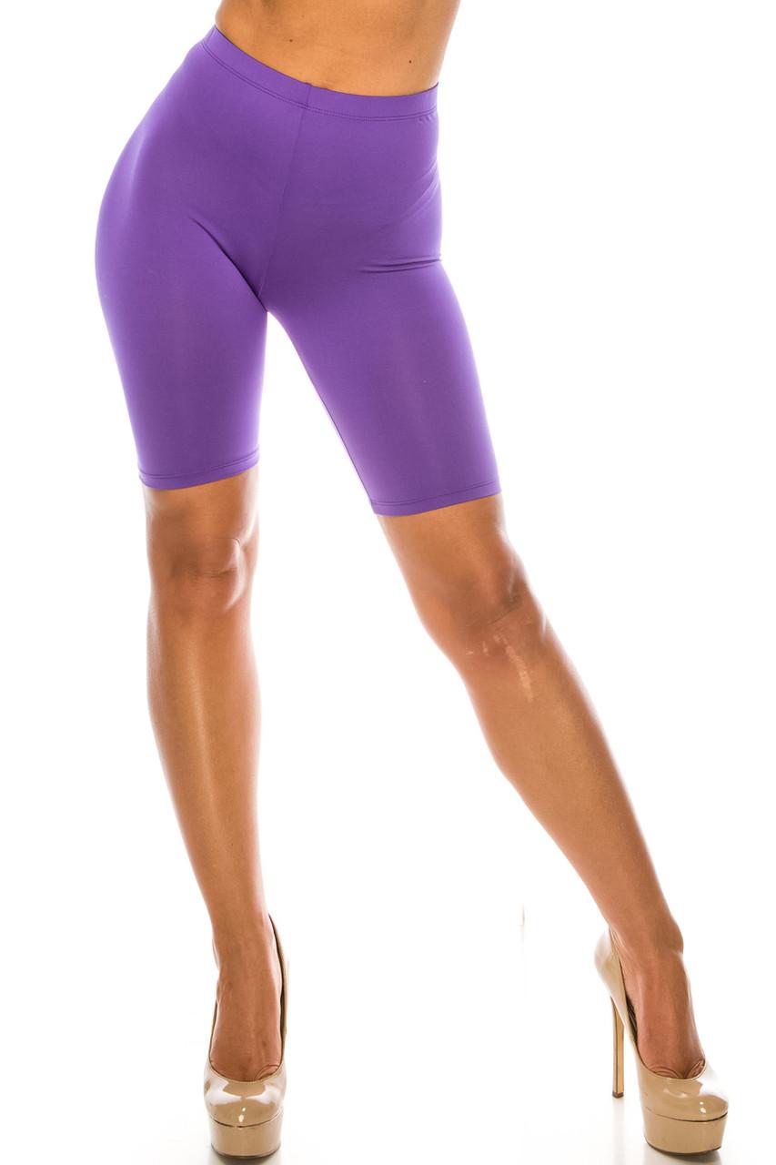 Front of Purple USA Basic Athleisure Shorts