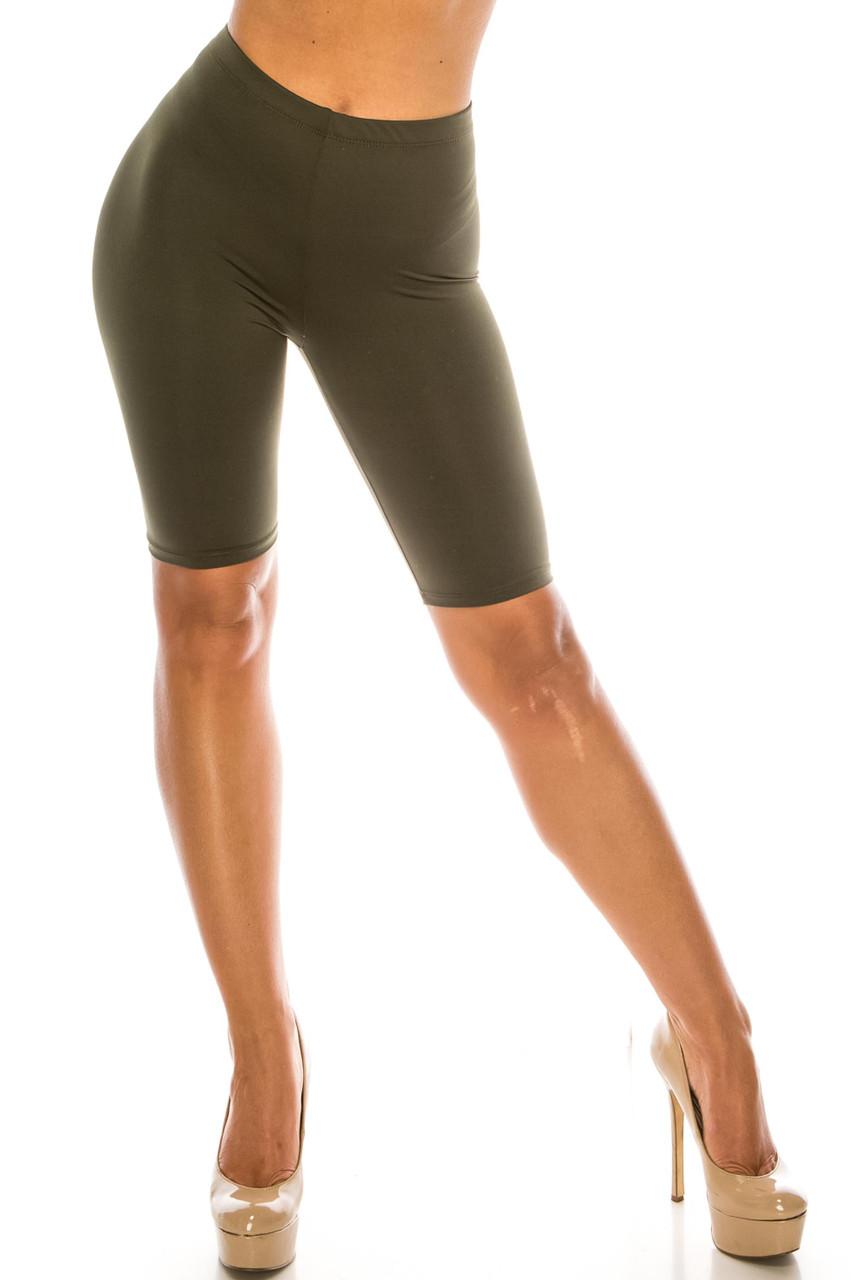 Front of Olive USA Basic Athleisure Shorts