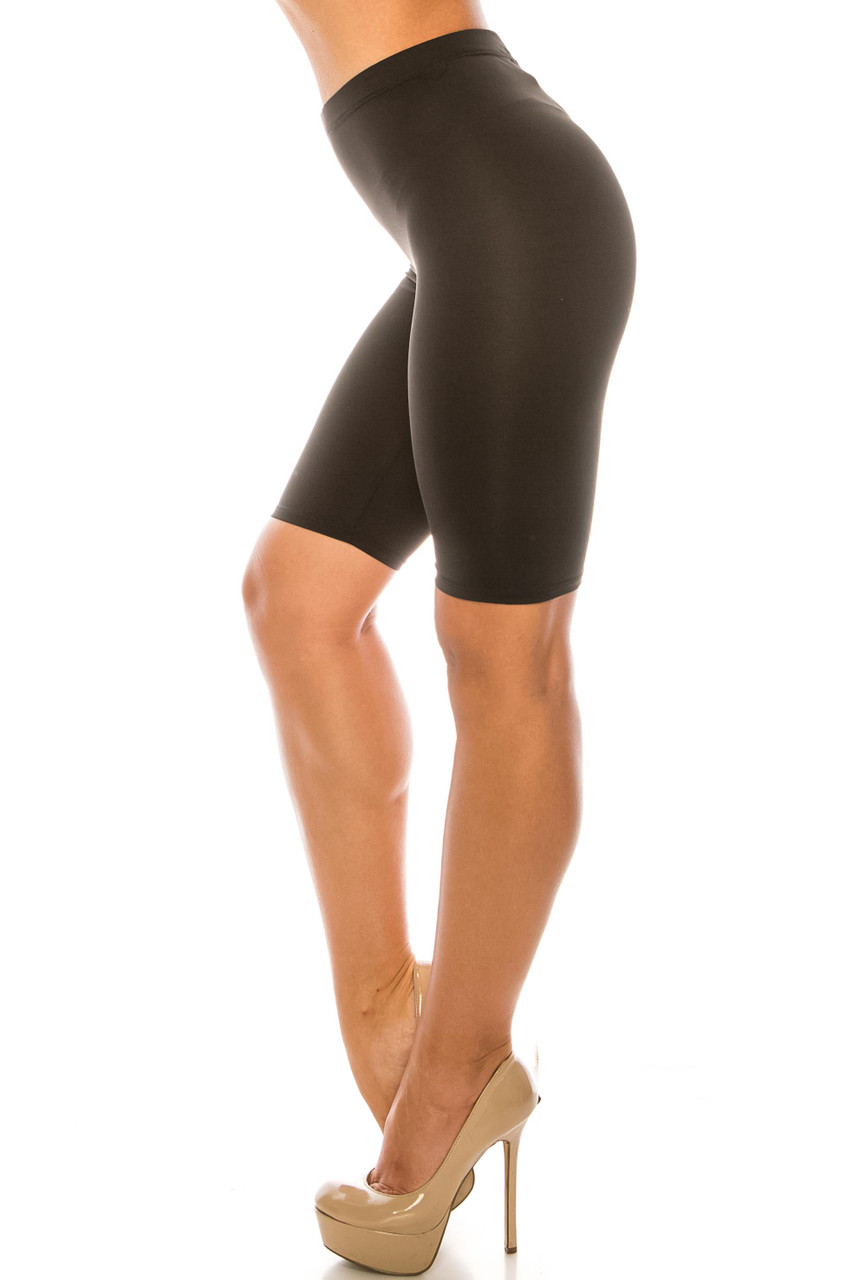 Left side of Black USA Basic Athleisure Shorts