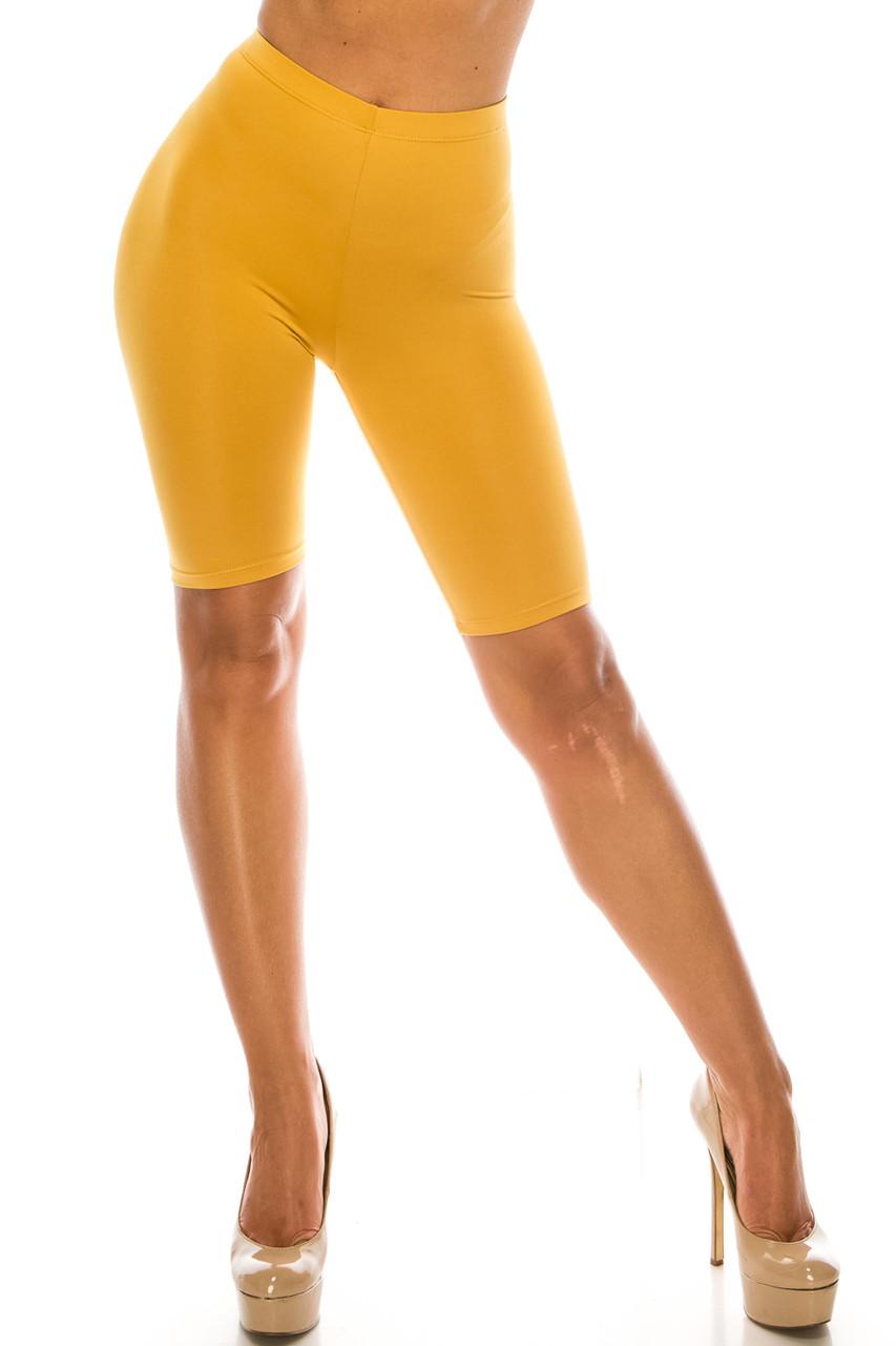 Front side image of Mustard USA Basic Athleisure Shorts