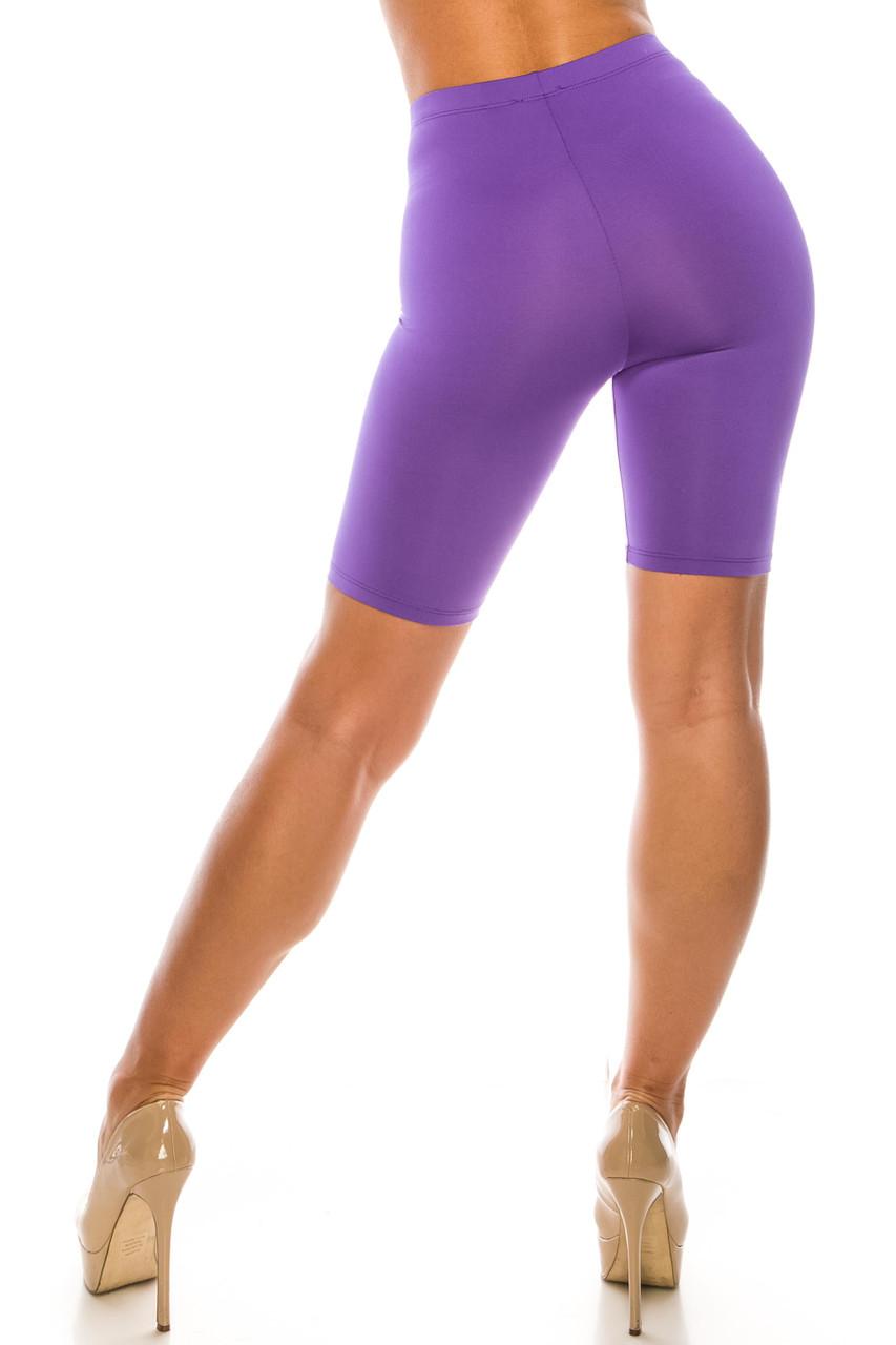 Back side image of Purple USA Basic Athleisure Shorts