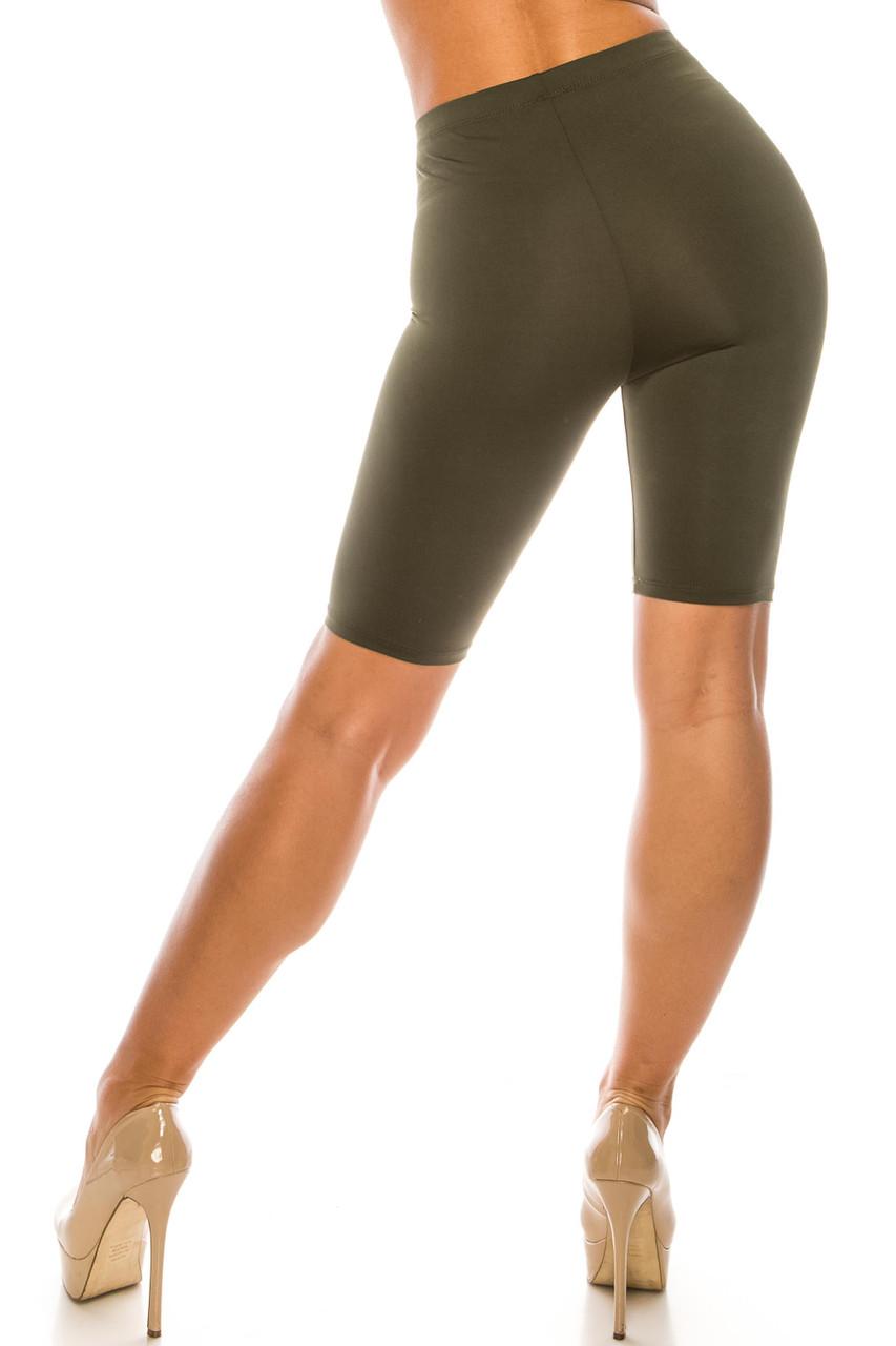 Back side image of Olive USA Basic Athleisure Shorts