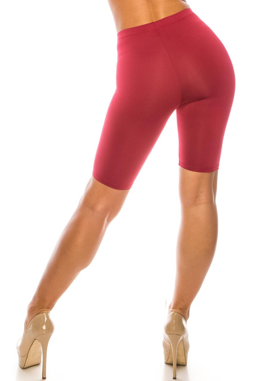 Back side image of Burgundy USA Basic Athleisure Shorts