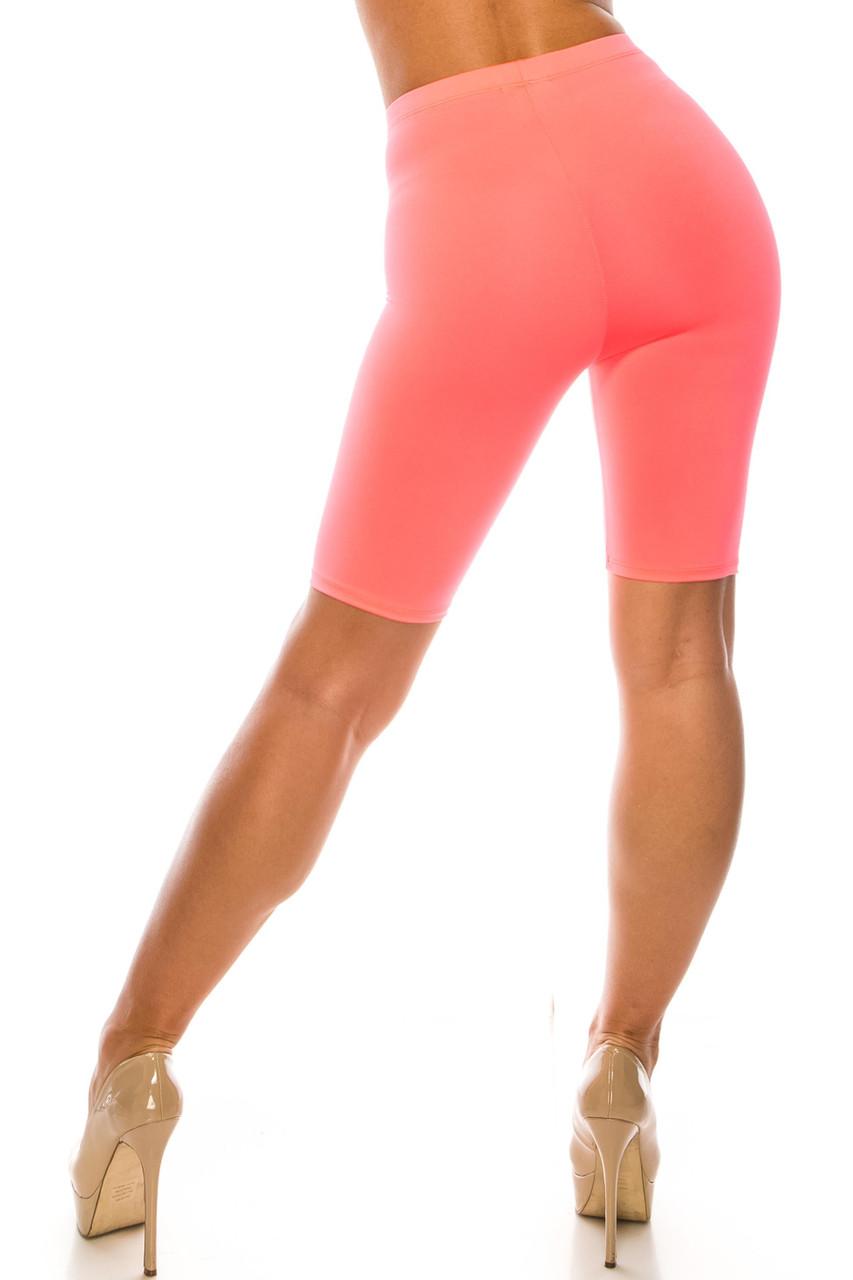 Back side image of Pink USA Basic Athleisure Shorts