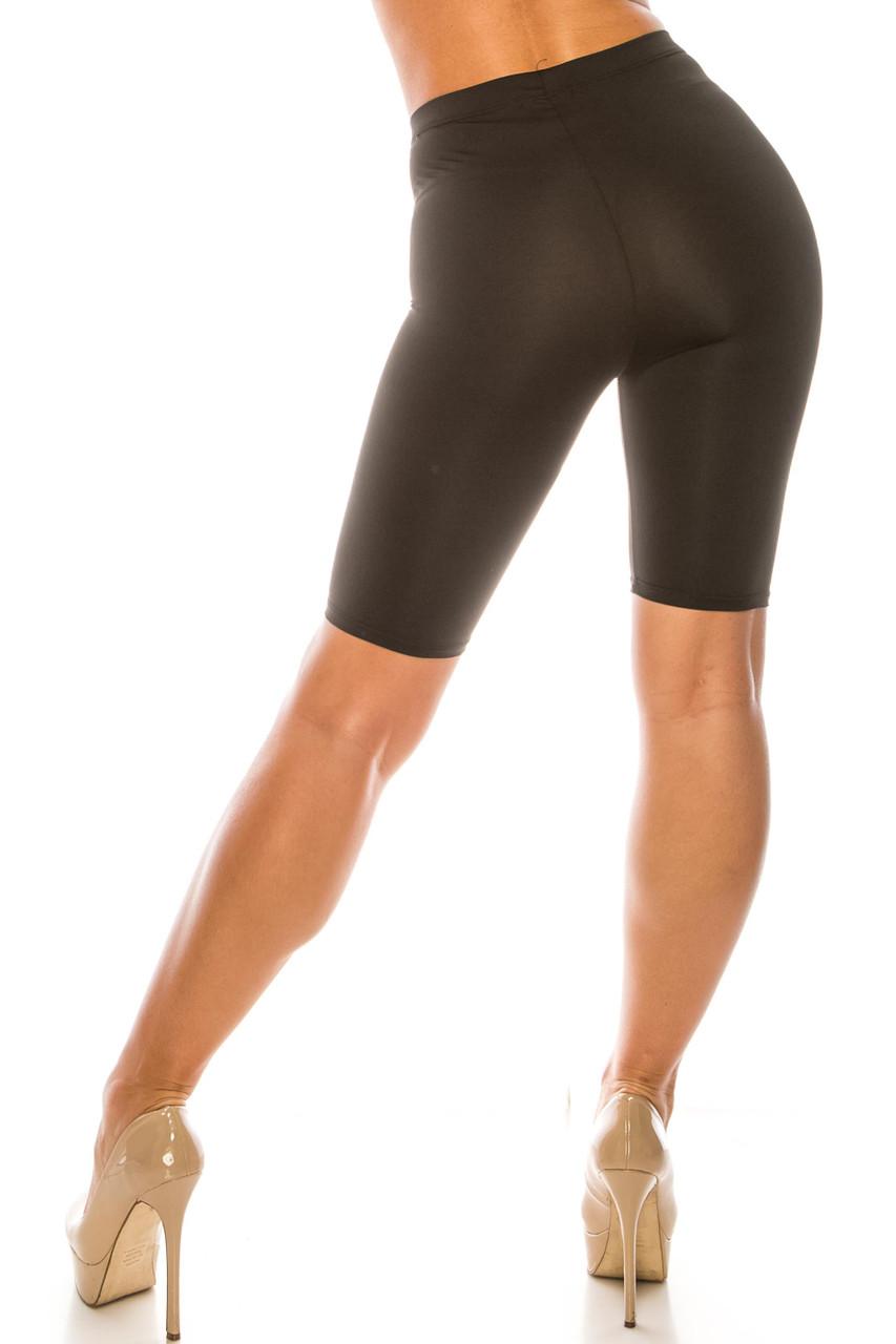Back side image of Black USA Basic Athleisure Shorts