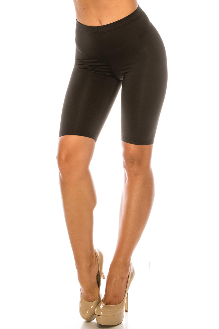 45 degree view of Black USA Basic Athleisure Shorts