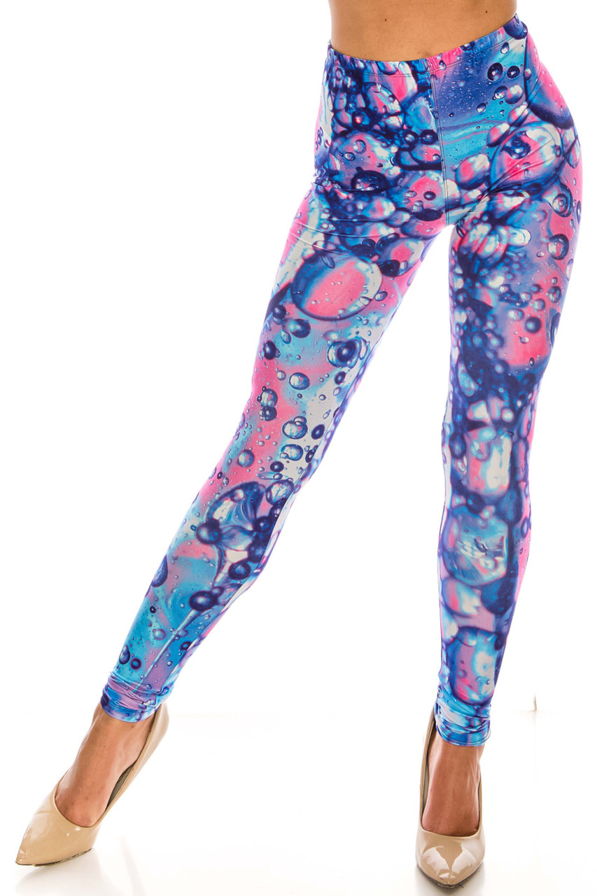 Front of Creamy Soft Brilliant Bubbles Leggings - Plus Size - USA Fashion™ with a blue and pink eye catching design.
