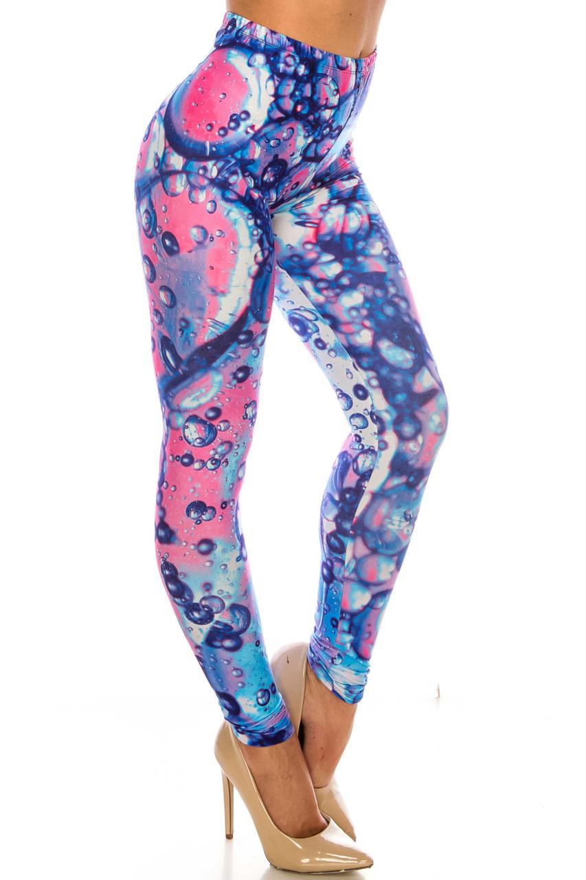 45 degree view of Creamy Soft Brilliant Bubbles Leggings - Plus Size - USA Fashion™