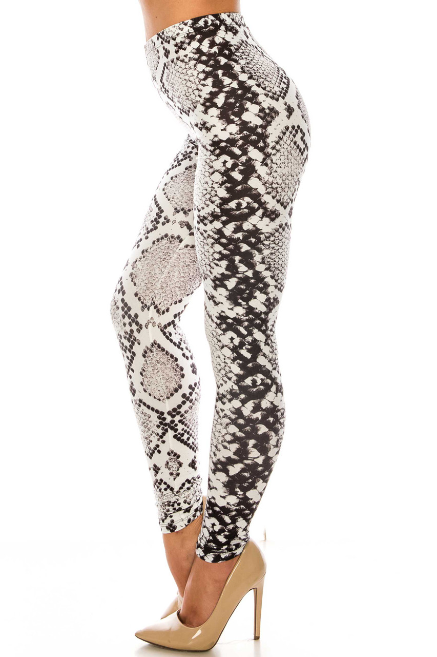 Left side image of Creamy Soft Ivory Python Leggings - Plus SIze - USA Fashion™