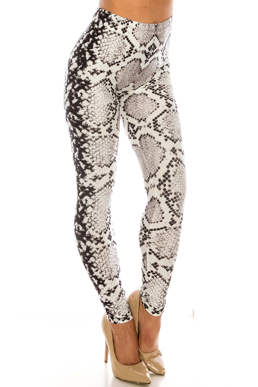 45 degree view of Creamy Soft Ivory Python Leggings - Plus SIze - USA Fashion™