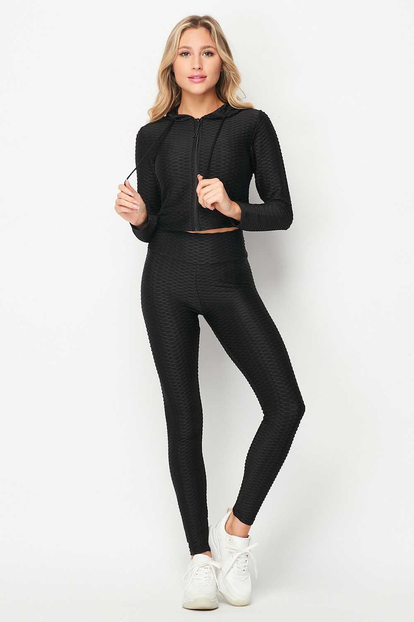 Front side image of Black 2 Piece Scrunch Butt Leggings and Cropped Hooded Jacket Set
