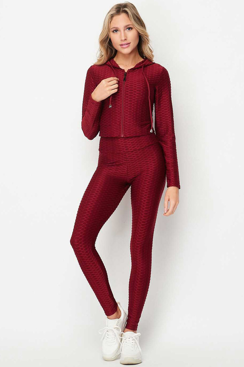 Front of Burgundy 2 Piece Scrunch Butt Leggings and Cropped Hooded Jacket Set