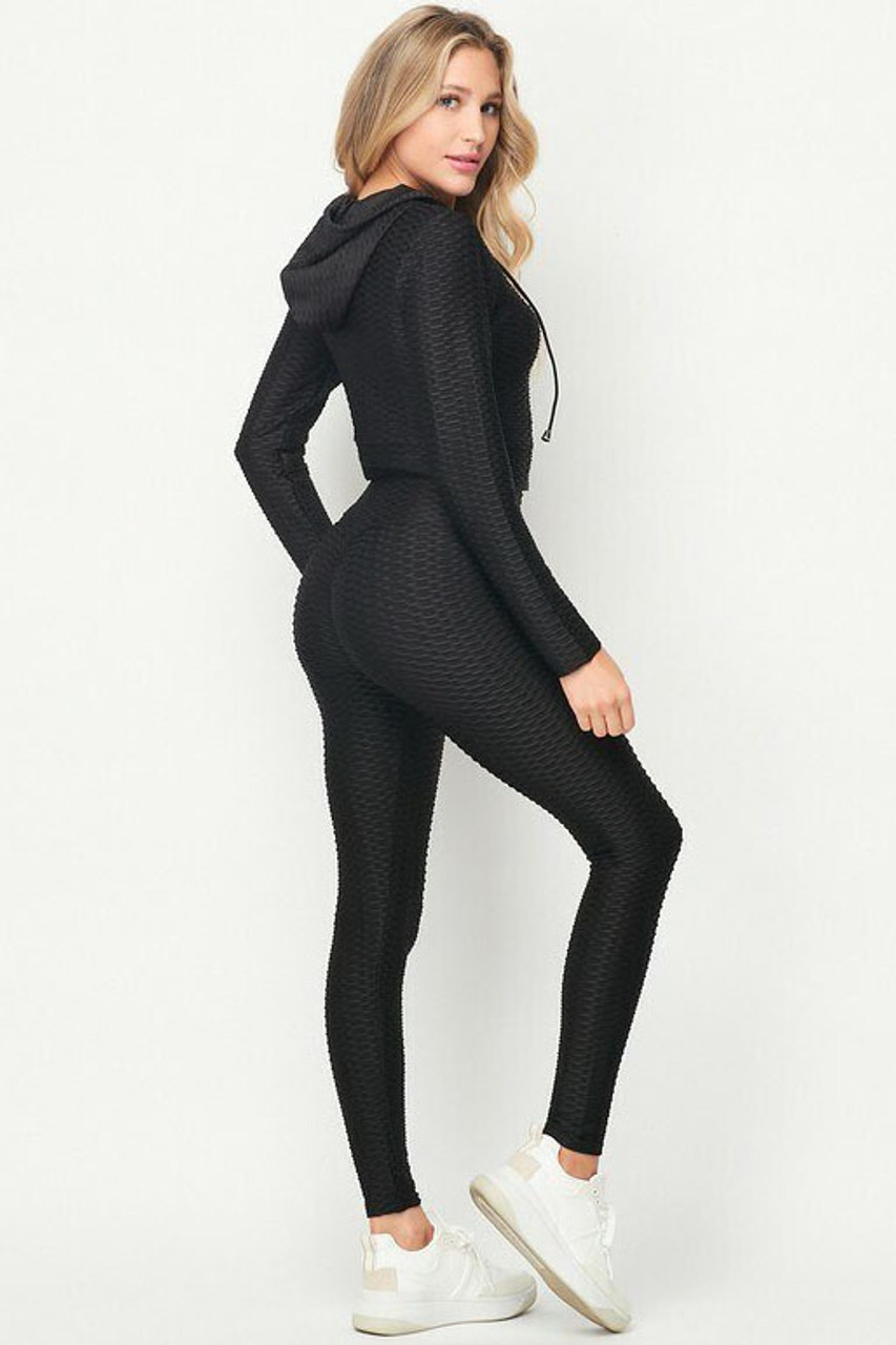 45 degree back/right side view of 2 Piece Scrunch Butt Leggings and Cropped Hooded Jacket Set