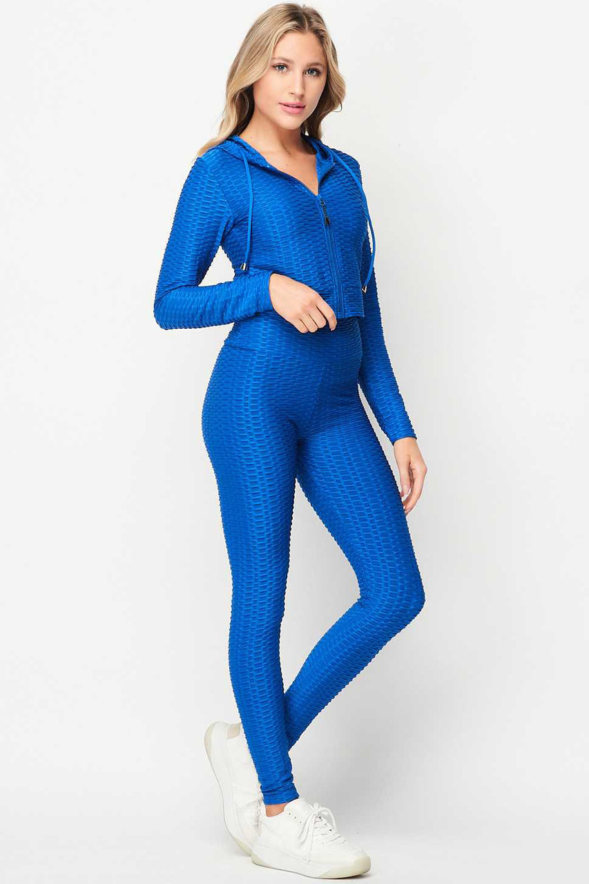 45 degree front view of Royal Blue 2 Piece Scrunch Butt Leggings and Cropped Hooded Jacket Set