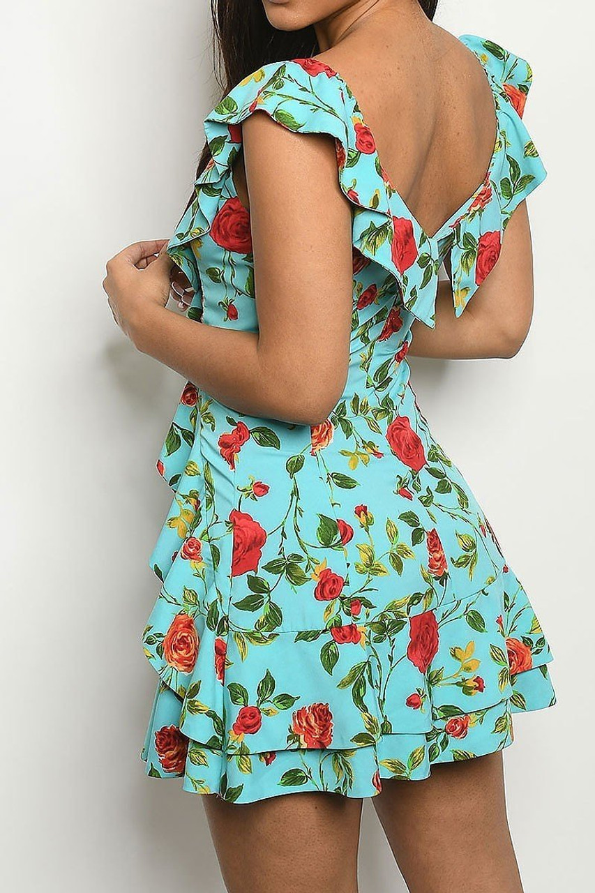 Back side image of Aqua Ruffles and Roses Flounce Mini Dress with flounce detail continued on the back.