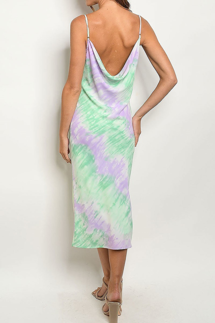 Back side image of Pastel Tie Dye Cowl Neck Midi Dress with Spaghetti Straps with a draping low back.
