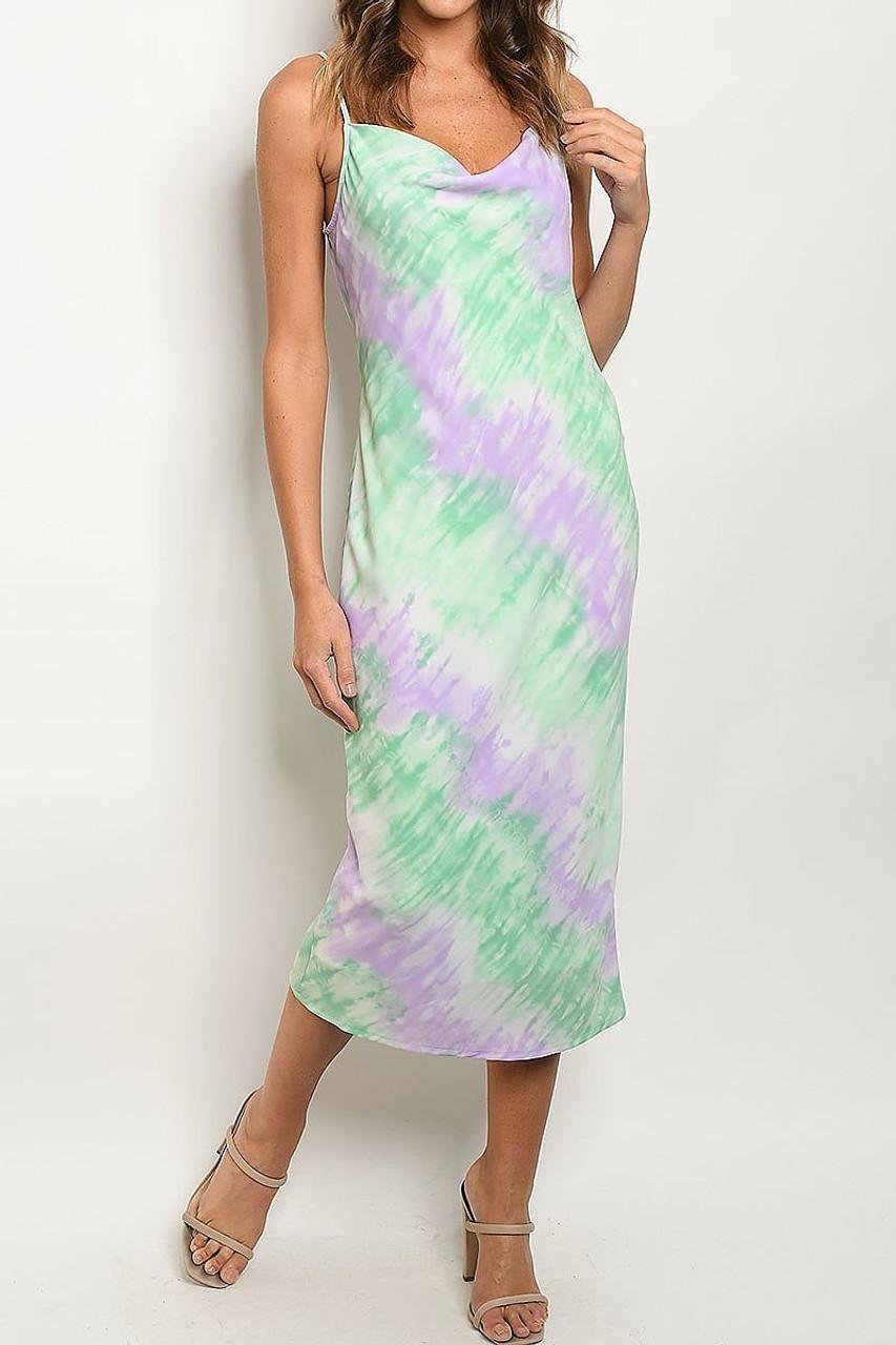 Front side image of Pastel Tie Dye Cowl Neck Midi Dress with Spaghetti Straps with a gorgeous diagonal striped design.