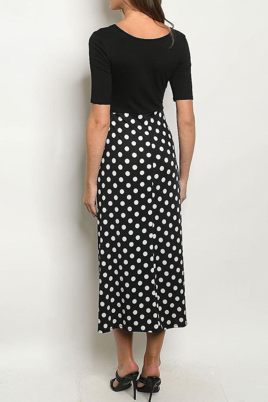 Back side image of Black Polka Dot Color Block Half Sleeve Midi Dress