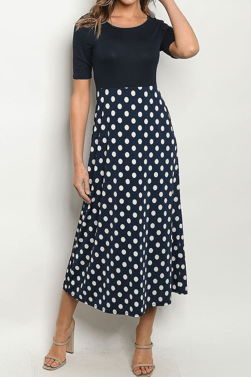 Front side image of Navy Polka Dot Color Block Half Sleeve Midi Dress
